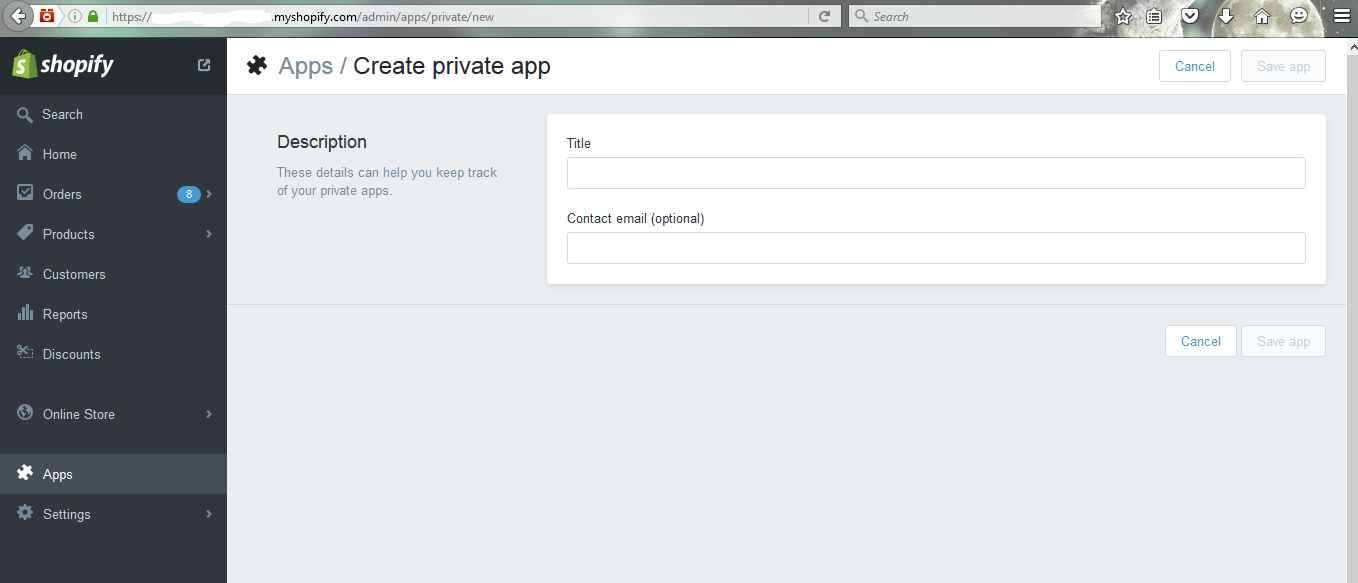Private App creation Page