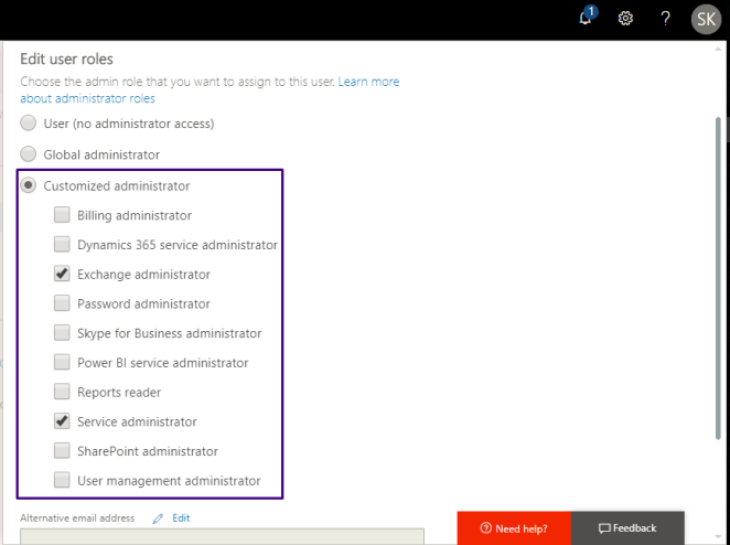 check service admin and exchange admin under customised admin