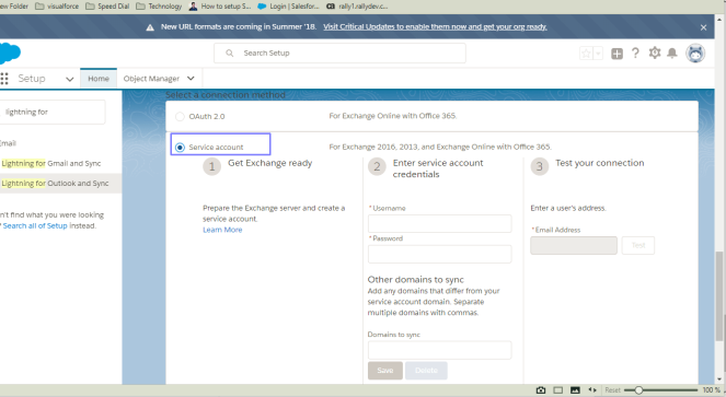 service account and oauth showing